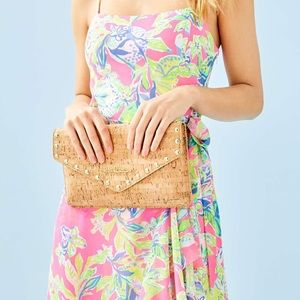 Lilly Pulitzer St Barts Studded Cork Clutch